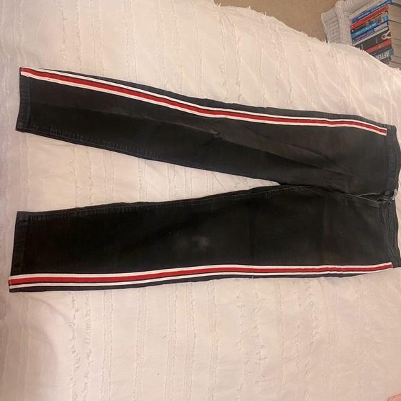 Black Zara Skinny Jeans w/ red and white stripe